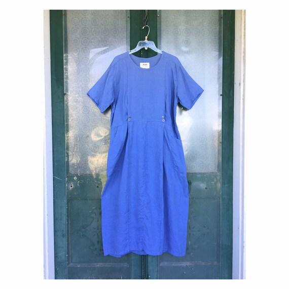 FLAX Engelheart Basic 1998 Fabulous Forties Dress -M- Cornflower Handkerchief Linen