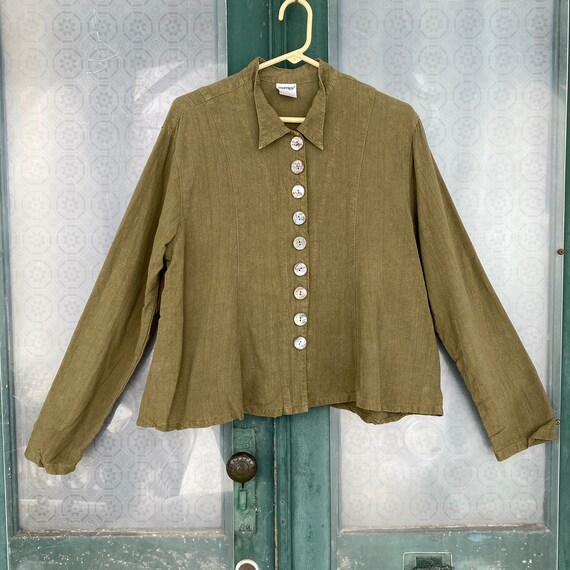 Gerties Long Sleeve Swing Blouse -XL- Moss Green Tencel Linen