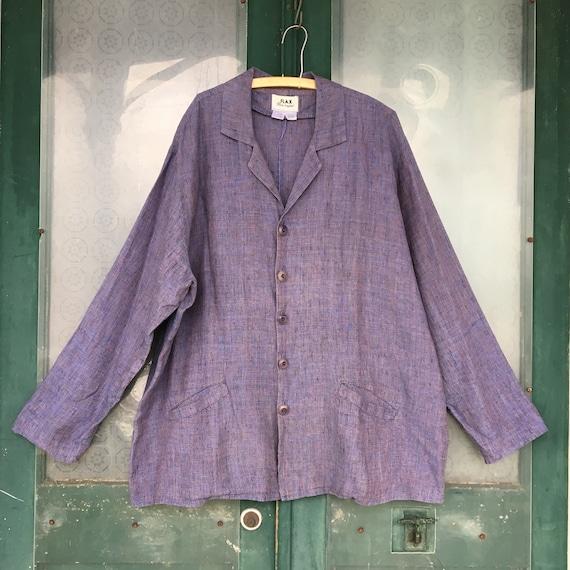 FLAX Engelhart Basic 2001 Man Tailored Jacket -1G/1X- Purple Haze Linen