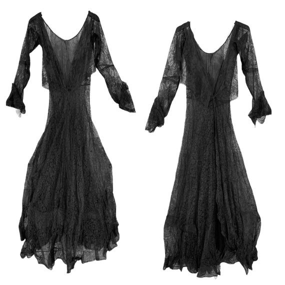 Vintage Edwardian Black Chantilly Lace Dress