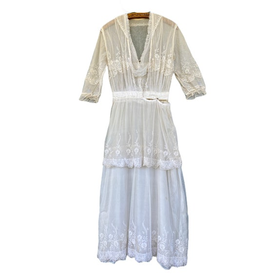 RESERVED Vintage Edwardian Mesh Lace Dress
