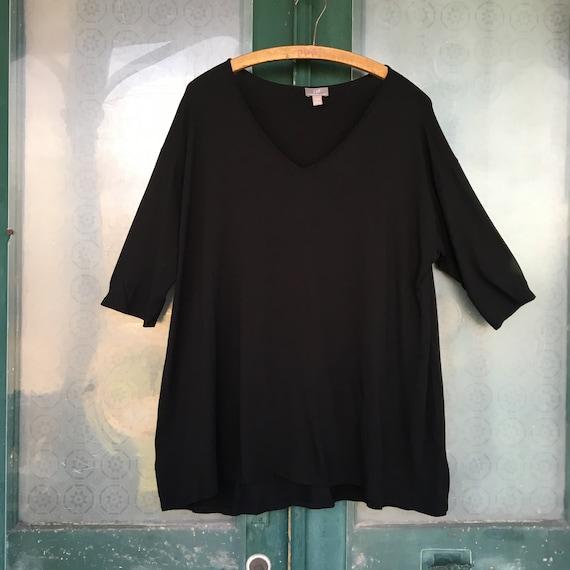 J. Jill Half Sleeve V-Neck Tee -L- Black Rayon Spandex