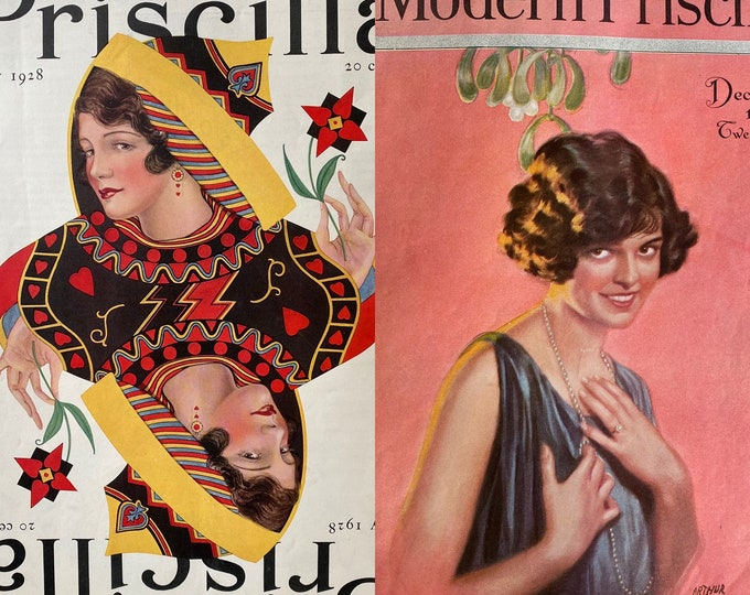 Pair of 1920s Modern Priscilla Magazines with Great Covers