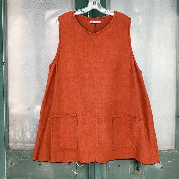 Sarah Clemens Sleeveless Pocket Tunic -M/L- Russet Linen