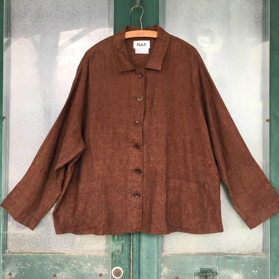 FLAX Engelhart Caper Coat -2G/2X- Yarn-Dyed Brown Linen