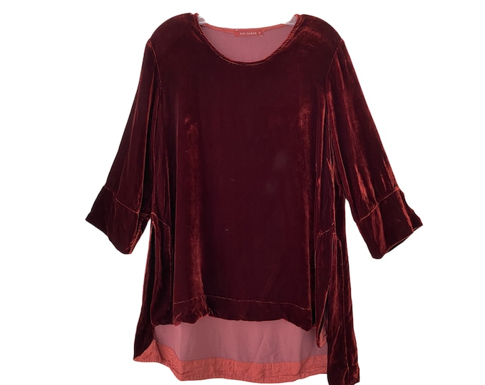 Cut Loose Deep Red Velvet Pullover Tunic -S-