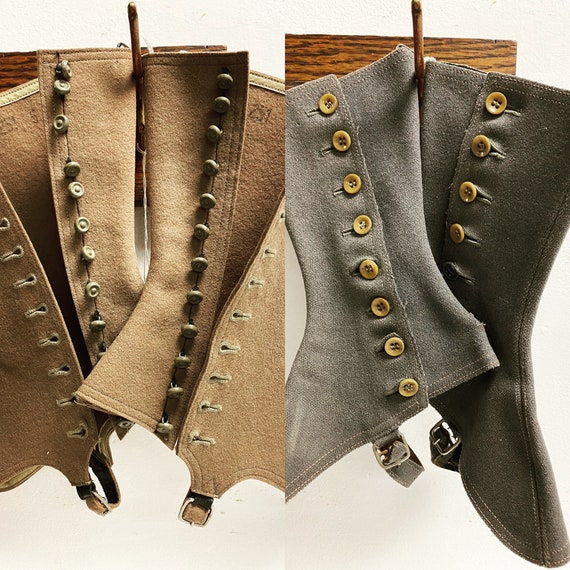 Antique Wool Spats - One Pair