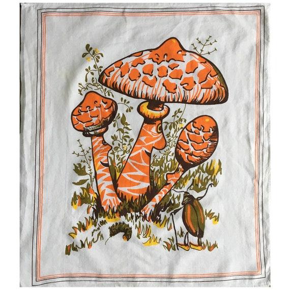 Vintage Orange Mushroom People Dishtowel