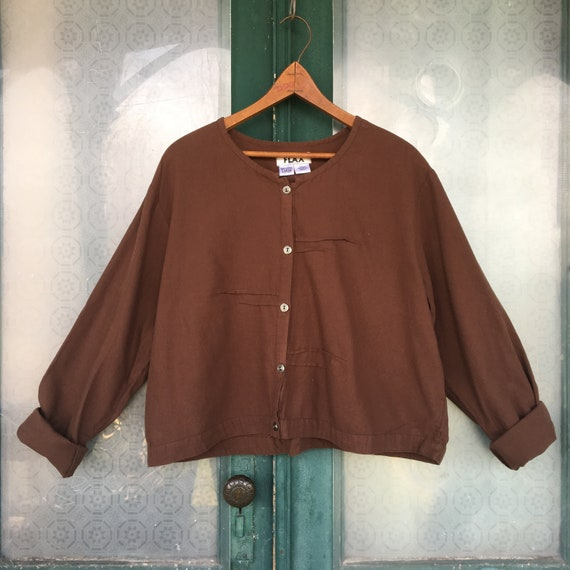 FLAX Cropped Jacket -L- Brown Cotton Flannel