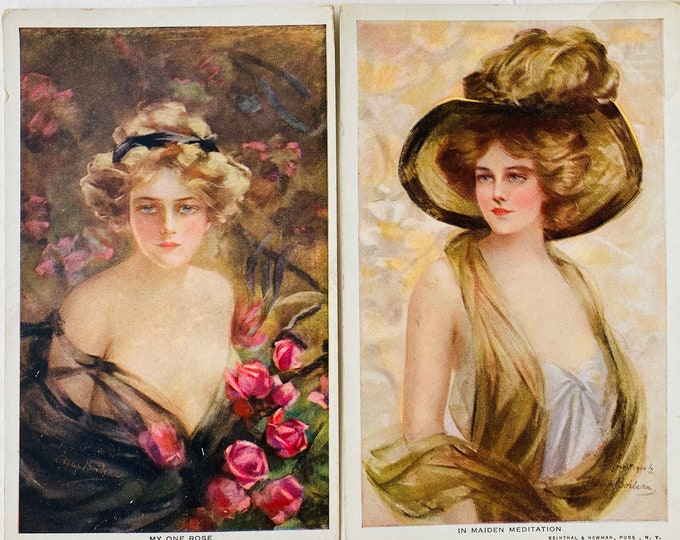 Pair of Sultry Vintage Reinthal & Newman Illustrated Postcards of Women