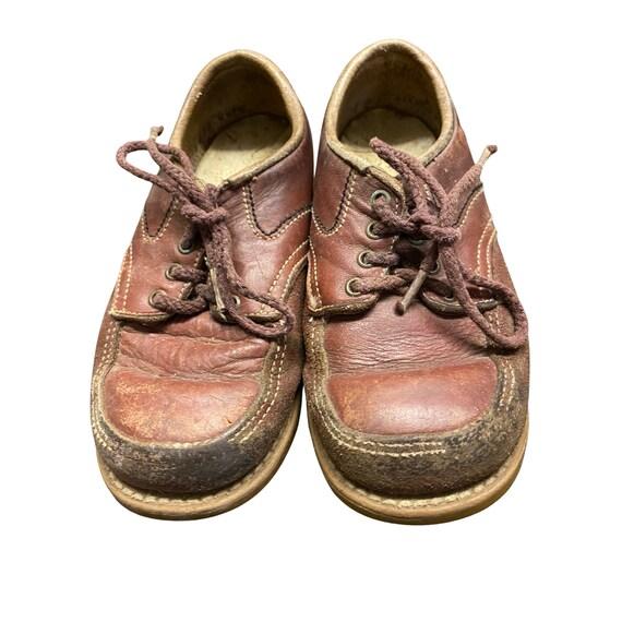 Vintage Kids Stride Rite Brown Leather Oxfords Dura-5