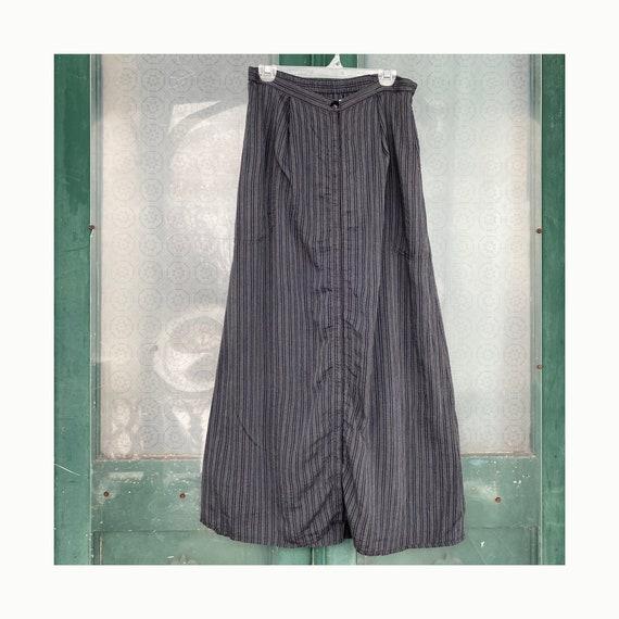 Angelheart Designs Broadcloth Bonanza 1999 A-line Skirt -M- Blue Stripe Rayon