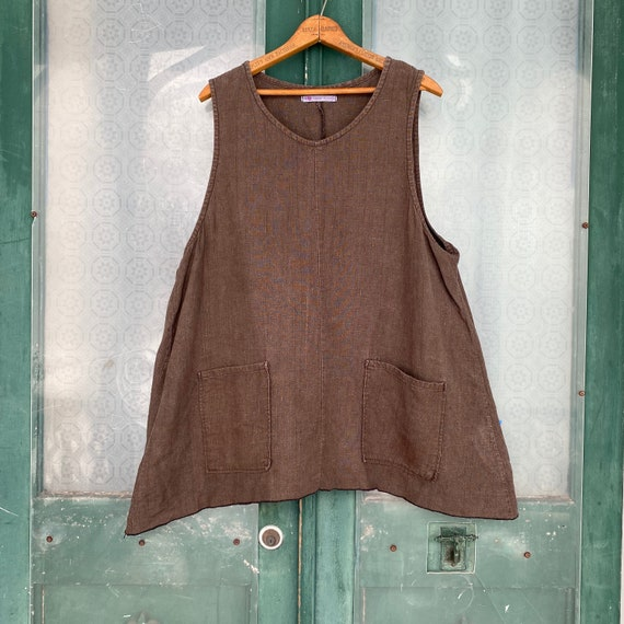 Sarah Clemens Sleeveless Pocket Tunic -M/L- Chocolate Brown Linen