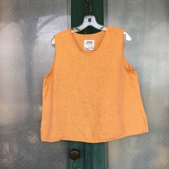 FLAX Engelhart Tank Top -M- Strawberry Papaya Yarn-Dyed Orange Medium Weight Linen
