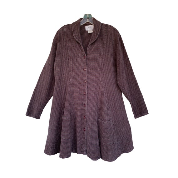 FLAX Engelhart Fall 1999 Godet Jacket -S- Maroon Heavy Weight Linen