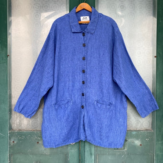 FLAX Engelheart Basic 2000 Journey's Placket Jacket -1G/1X- Blue Fish Linen
