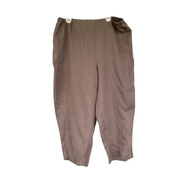FLAX Designs Flat Front Pant -1G/1X- Brown/Gray Linen