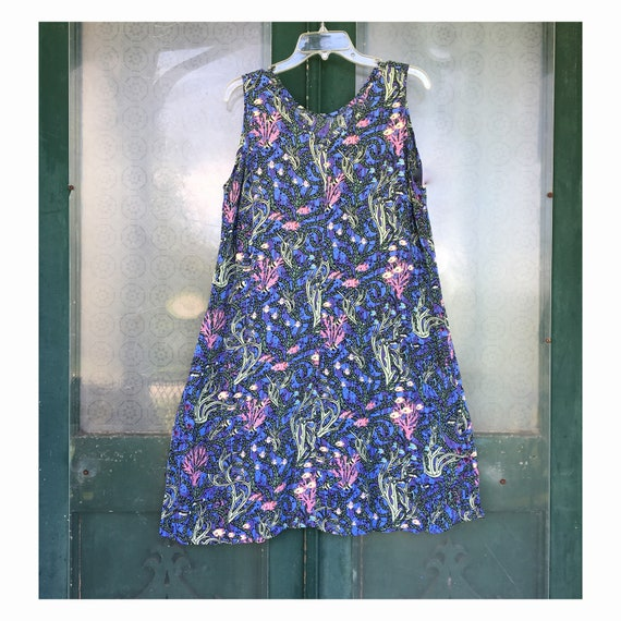 FLAX Engelhart Thinking Tropics 2002 Short Slipster Dress -M- Saltwater Rayon