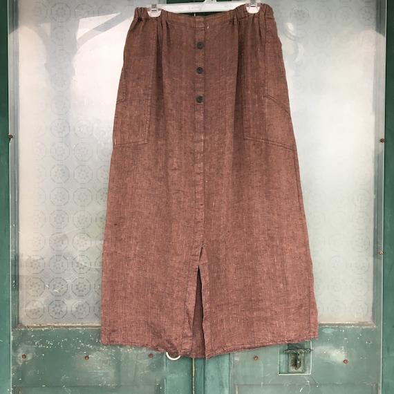 FLAX Engelhart Temperate 1995 Skirt -L- Yarn-Dyed Brown/Black Linen