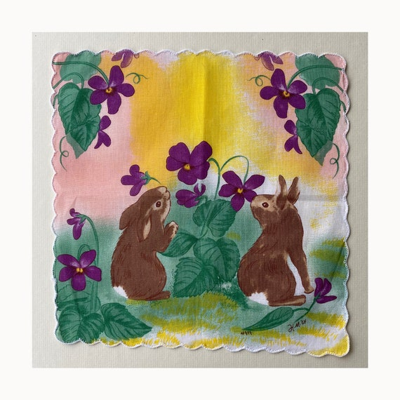 Vintage Bunnies and Violets Handkerchief