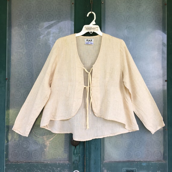 FLAX Front Tie Jacket -S- Natural Light Weight Linen
