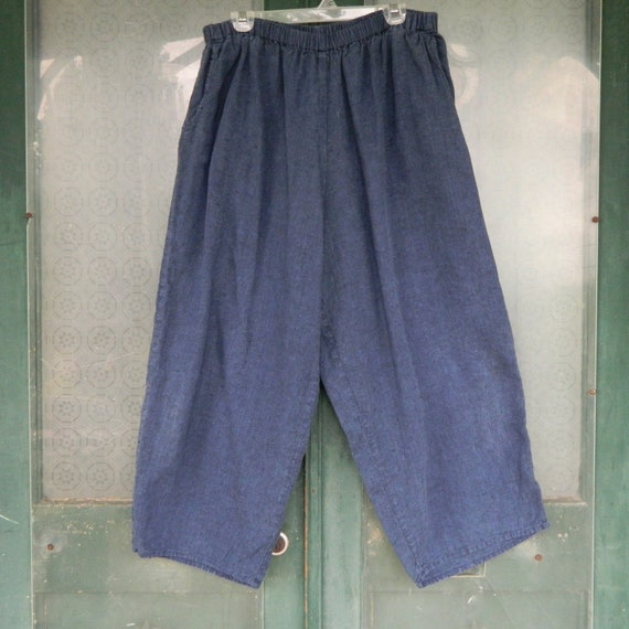 FLAX Engelheart Flood Pants -2G/2X- Indigo Denim Blue Linen