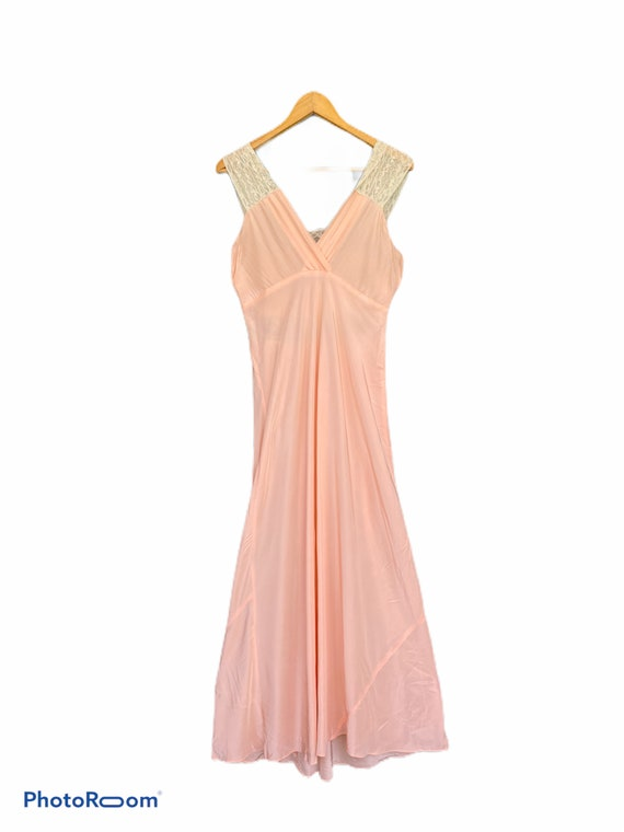 Vintage Long Glamorous Sexy Peachy Silk Night Gown - image 2