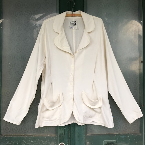 Angelheart Designs Retro Edwardian Fitted Jacket -M- Cream White Linen/Rayon