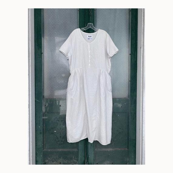 Flax Vintage Collection 2003 Reliable Dress -M- Antique White Cotton/Rayon
