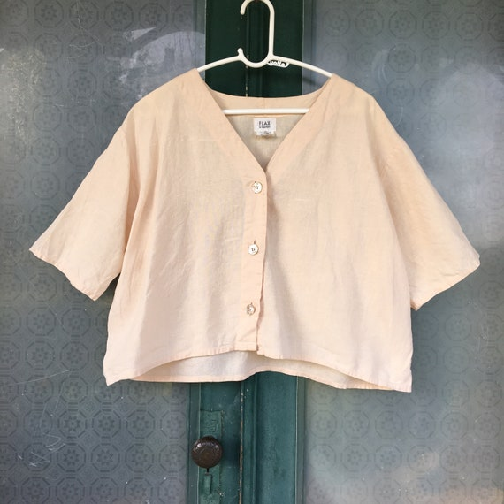 FLAX Engelhart Cropped Top -S- French Vanilla Linen
