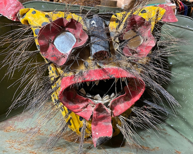 Vintage Mexican Folk Art Tigre Jaguar Mask Helmet Guererro