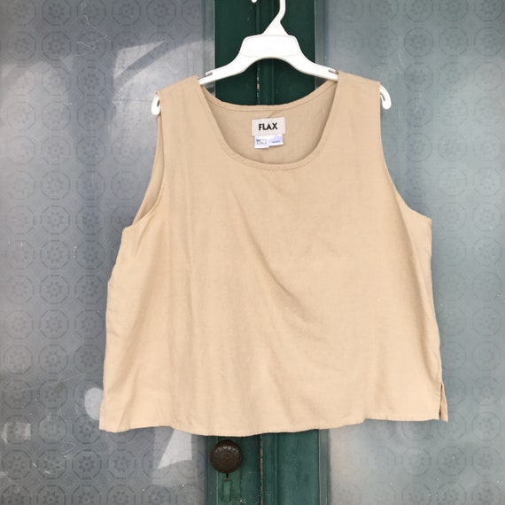 FLAX Flannel Tank Top -L- Beige Cotton