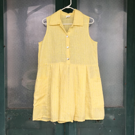 FLAX Designs Short & Sunny Dress -S- Yellow Linen
