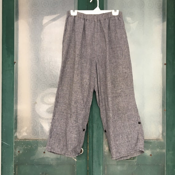 FLAX Engelhart Temperate 2001 Flipped Up Flood Pants -M- Dusty Tweed Linen
