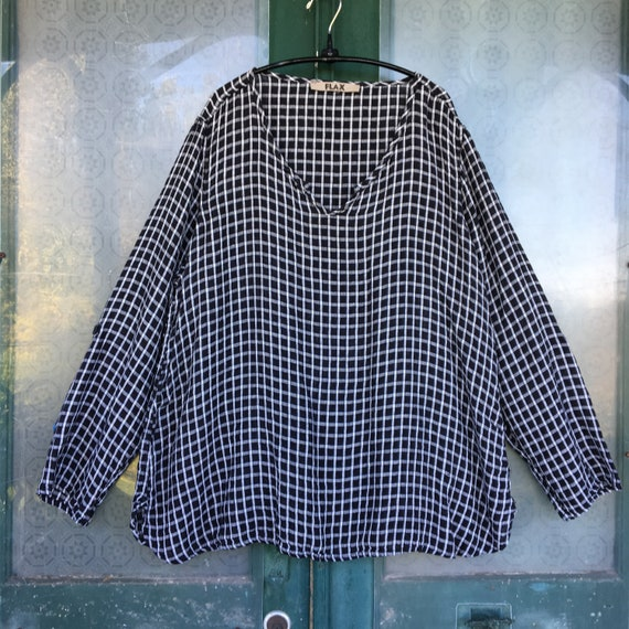 FLAX Designs Long-Sleeve Pullover Tunic -L- Black & White Grid Linen
