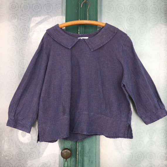 FLAX Engelhart Retro Middy Minded Blouse -M/L- Slate Blue Yarn-Dyed Linen