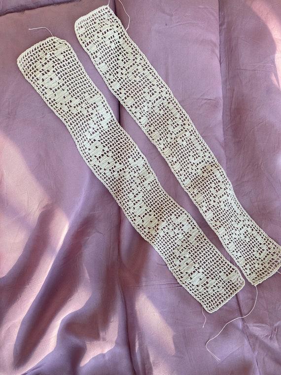 Vintage Ivory Cotton Crocheted Dress Slip Shoulder Straps