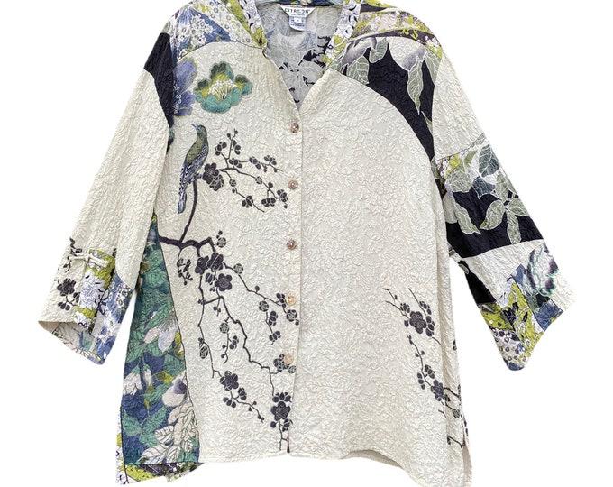 Citron Asian-Theme Shirt Jacket -1X- Textured Silk