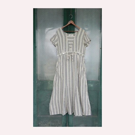 FLAX Engelheart Short-Sleeve Retro Dress -S- Cream with Black and Blue Stripe Linen