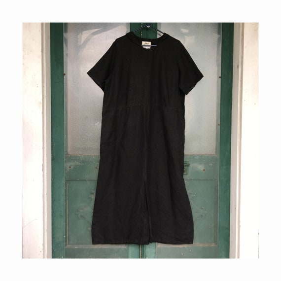 FLAX Engelheart Basic 1999 Bandanna Dress -M- Black Linen