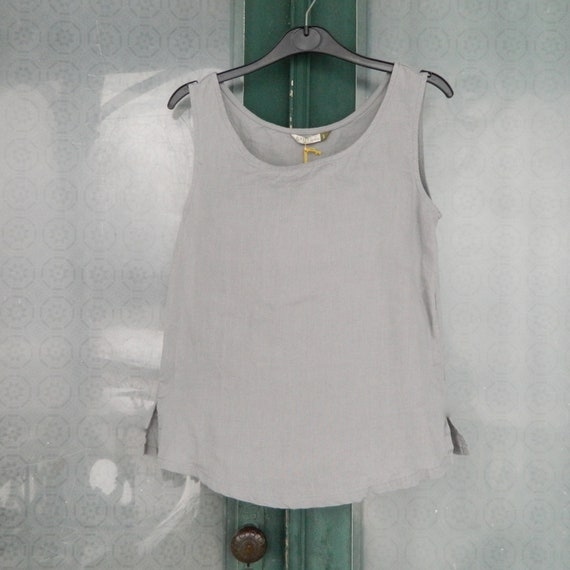 Chalet et Ceci Linen Tank -S- Sterling Gray NWT