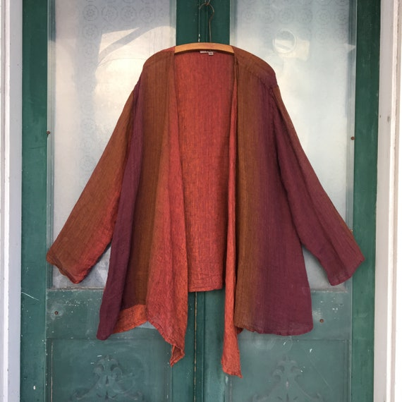 FLAX Engelhart Open-Front Jacket -3G/3X- Red Brown Purple Ombre Linen