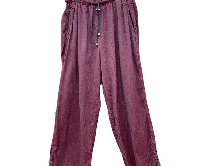 FLAX Engelhart Fall 1999 Straight Pants -M- Maroon Dupioni Silk