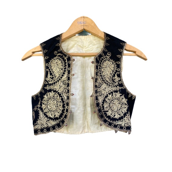 Vintage Child's Black Vest with Gold Soutache Trim