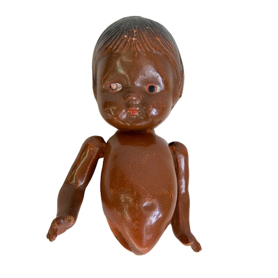 Vintage Brown Skin Composition Baby Doll Head Torso Arms