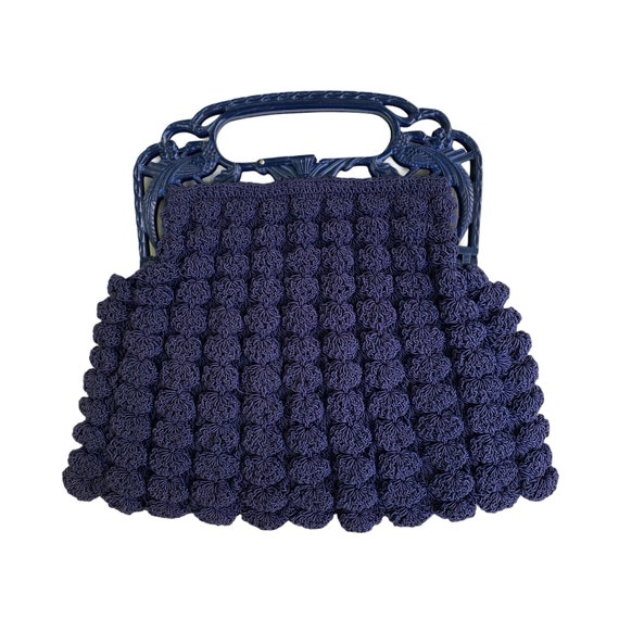 Vintage Navy Blue Gimp Corde Crocheted Handbag with Bird Handle