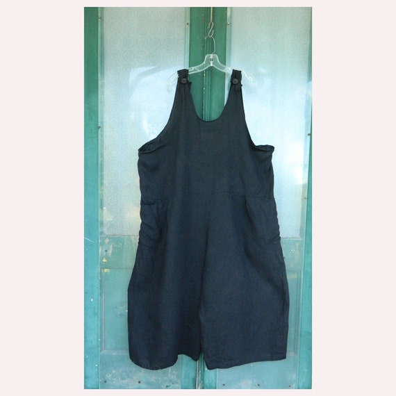 FLAX Engelhart Basic 1997 Roveralls Overalls Generous Plus Size Black Linen