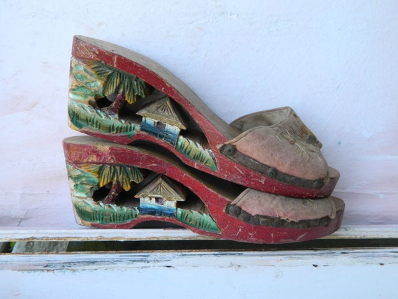 Vintage Philippine Carved Wooden Wedge Sandals Shoes