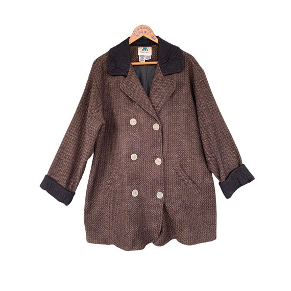 FLAX Engelhart Fall Coats 2000 Wool Blend Jacket -M- Black Brown Green Grid