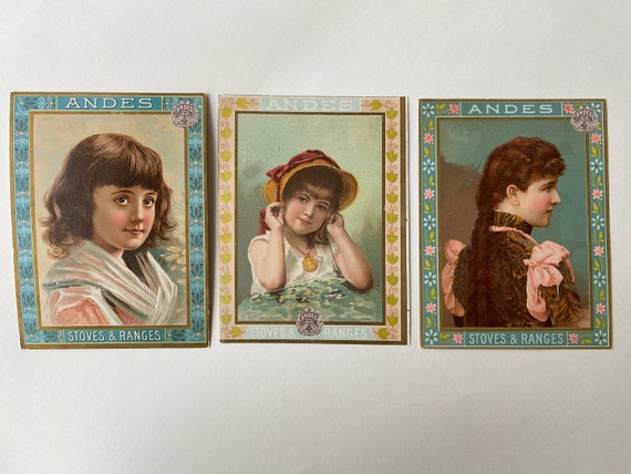 Trio of Andes Stoves Trading Cards with Beautiful Portraits